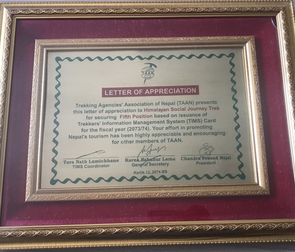 Letter of Appreciation From TAAN